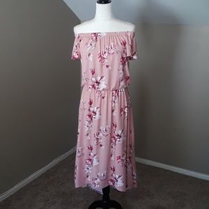 TMG Pink Floral High Low Dress